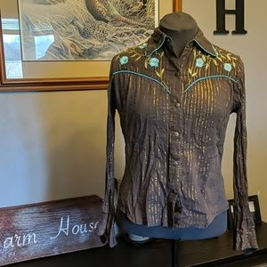 Western Brown Button Down Top